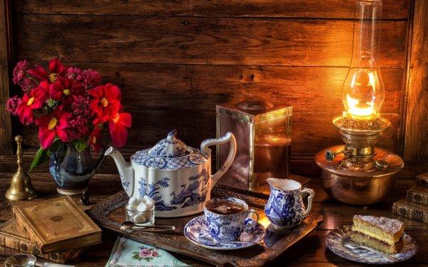Photography Still Life Lantern Flower Book Tea Cake Teapot HD Wallpaper | Background Image