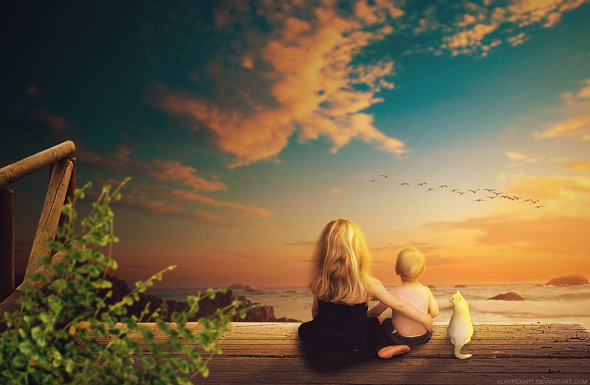 Artistic - Fantasy  Artistic Little Girl Little Boy Cat Sunset Ocean Wallpaper