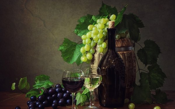 Photography Still Life Grapes Wine Cask Leaf Glass HD Wallpaper | Background Image