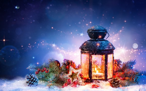 Holiday Christmas Lantern Pine Cone Star Berry HD Wallpaper   Background Image