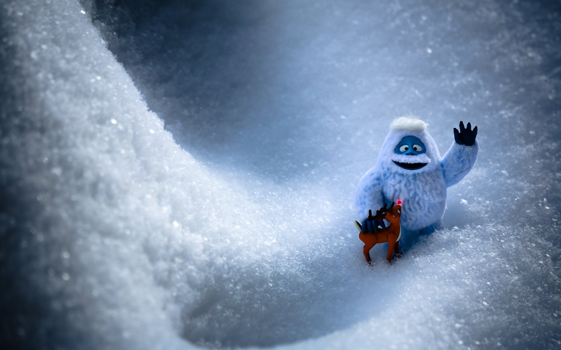 abominable snowman and rudolph hd wallpaper background