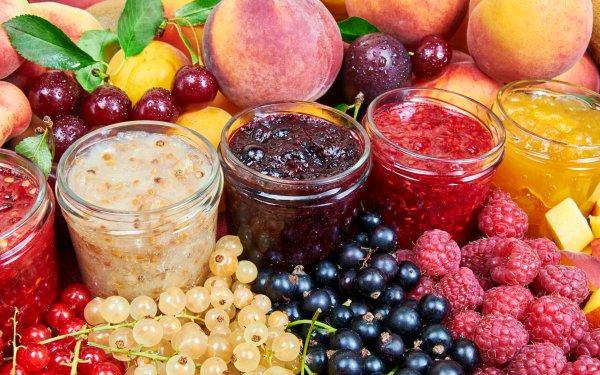 Food Fruit Fruits Raspberry Currants Peach Berry Jar Jam HD Wallpaper | Background Image