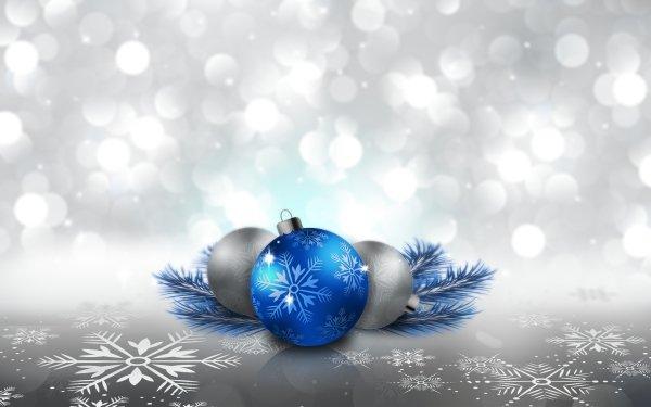 Holiday Christmas Christmas Ornaments Blue Silver Snowflake HD Wallpaper | Background Image