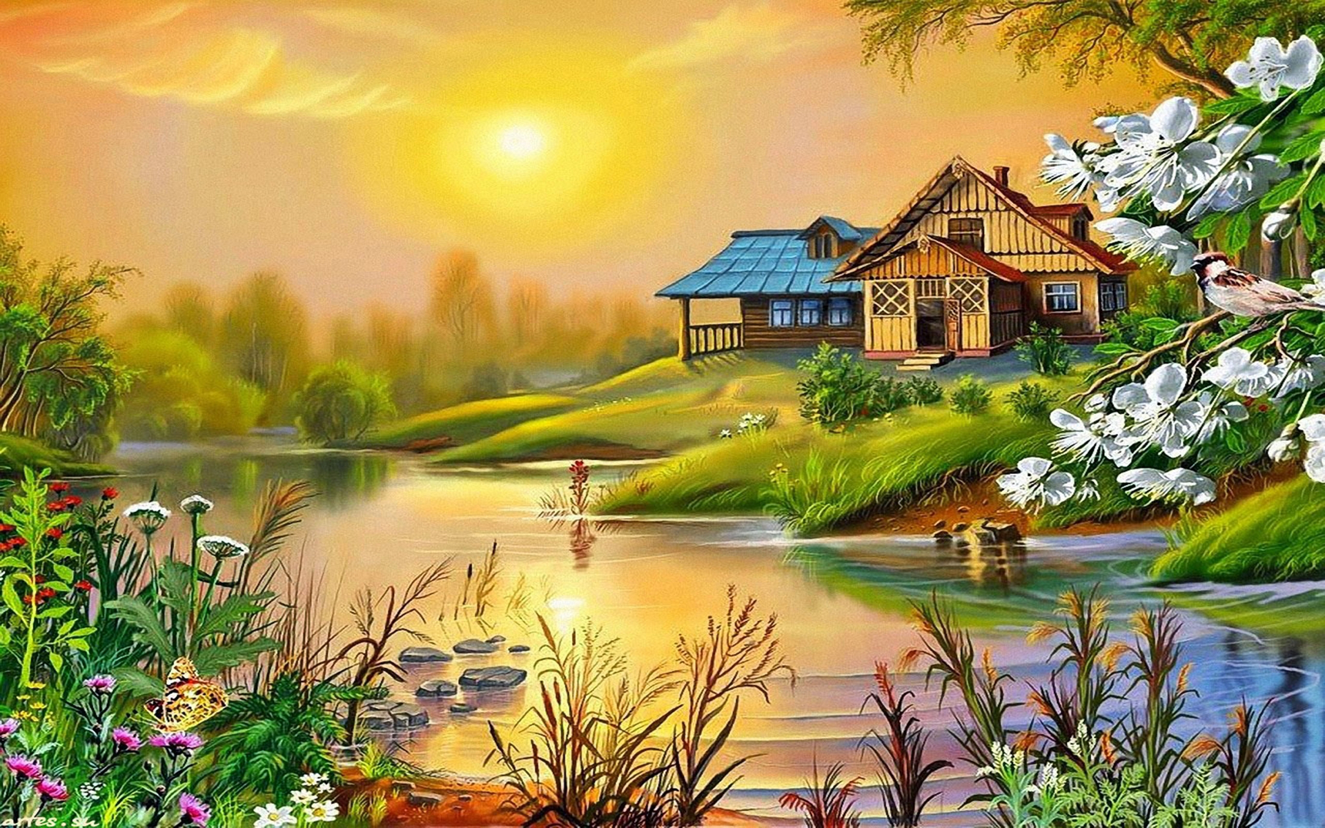 House on the lake full hd wallpaper and background image for Wallpaper home image