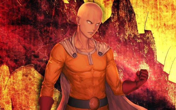 Anime One-Punch Man Saitama Bald Costume Glove Cape Belt Yellow Eyes HD Wallpaper | Background Image
