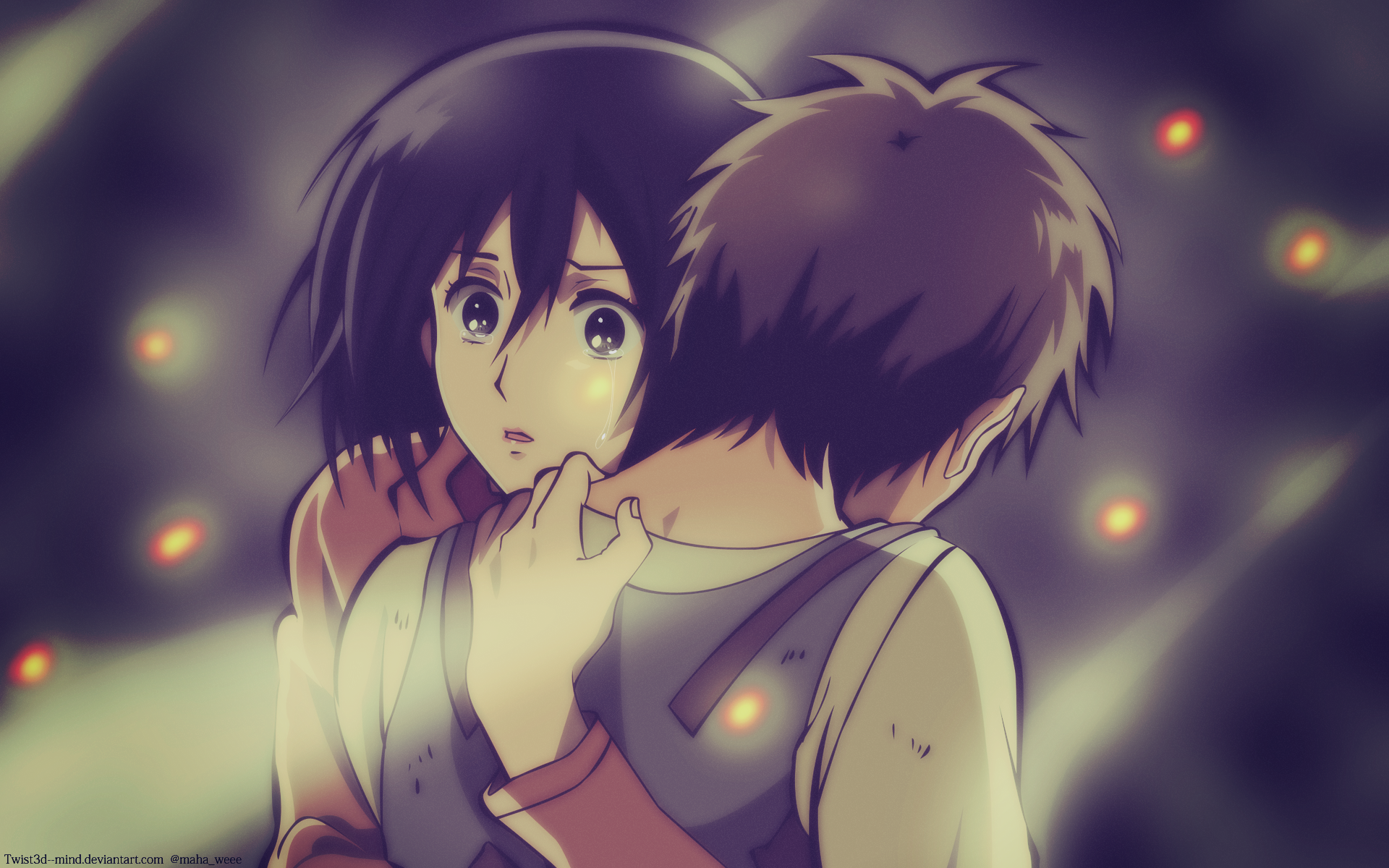 Anime - Attack On Titan  Hug Shingeki No Kyojin Eren Yeager Mikasa Ackerman Wallpaper