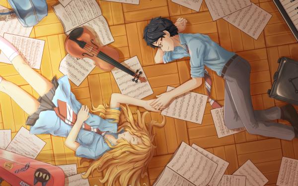 Anime Your Lie in April Kaori Miyazono Kousei Arima HD Wallpaper | Background Image