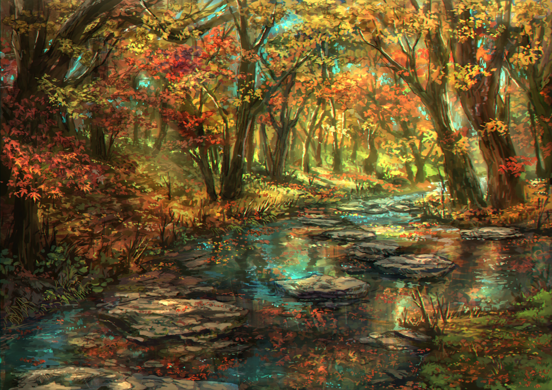 Anime - Original  Artistic Nature Foliage Fall Tree Forest River Original (Anime) Leaf Wallpaper