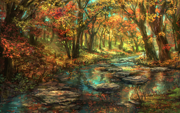 Anime Original Nature River Forest Tree Fall Foliage Leaf HD Wallpaper | Background Image