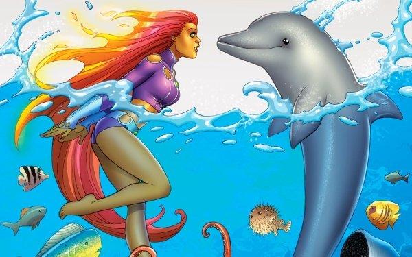 Comics Starfire Teen Titans Dolphin Long Hair Fish Barefoot DC Comics Pufferfish Water Red Hair HD Wallpaper | Background Image