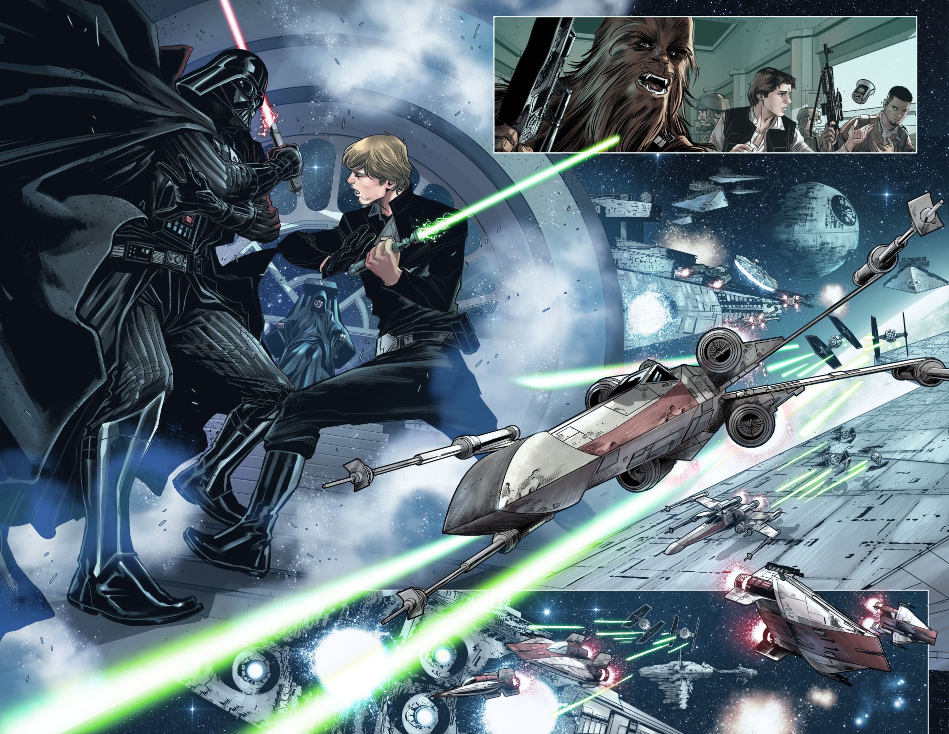 Comics - Star Wars  Luke Skywalker Darth Vader X-Wing Chewbacca Wallpaper