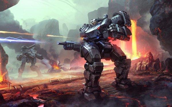 Sci Fi Robot Battle Lava Futuristic HD Wallpaper | Background Image