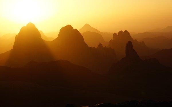 Earth Mountain Mountains Algeria Africa Assekrem Sunset Tassili N'Ajjer Sun Hoggar Mountains HD Wallpaper | Background Image
