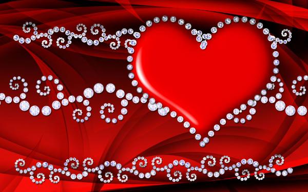 Artistic Heart Jewelry Red Diamond HD Wallpaper   Background Image