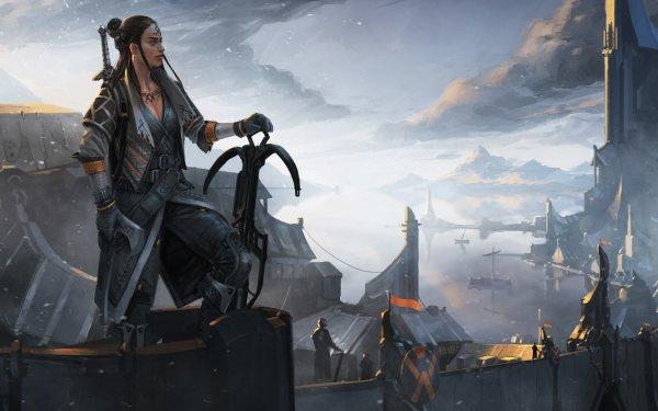 Fantasy Women Warrior Woman Warrior Crossbow Town HD Wallpaper | Background Image