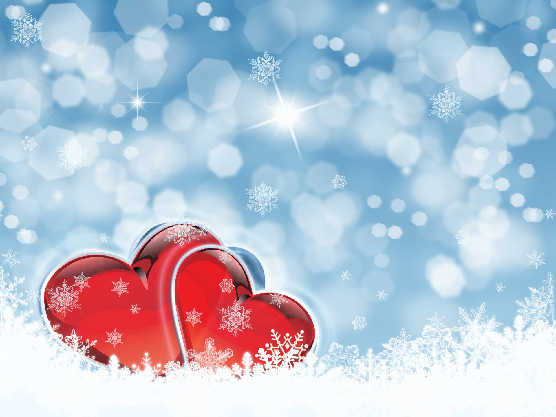 Artistic - Heart  Artistic Red Snow Snowflake Wallpaper