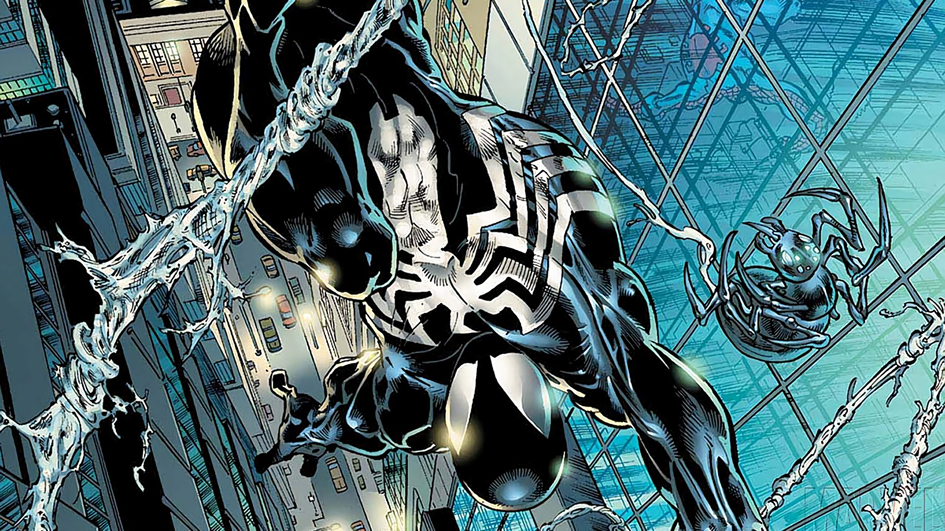 Black suit spiderman hd wallpaper background image - Black and white spiderman wallpaper ...