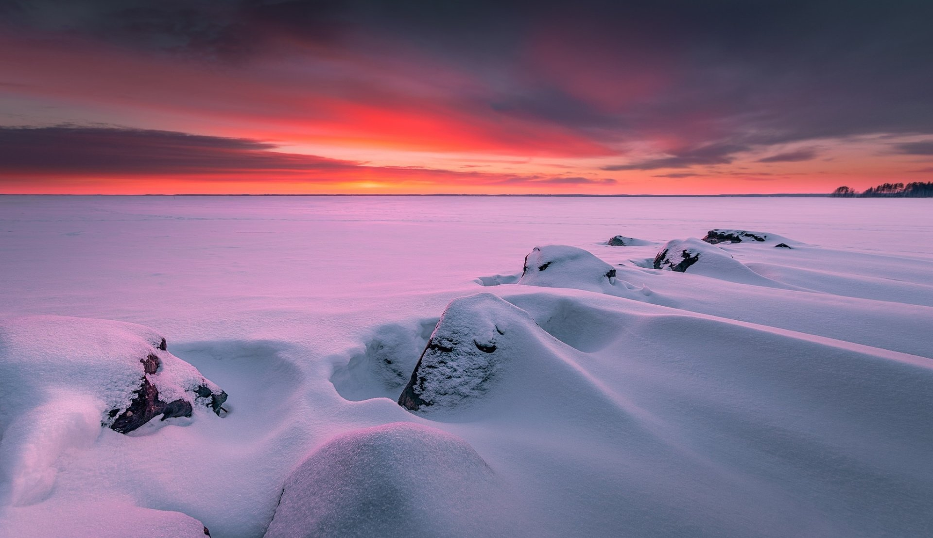 Earth - Winter  Nature Horizon Sunset Snow Wallpaper