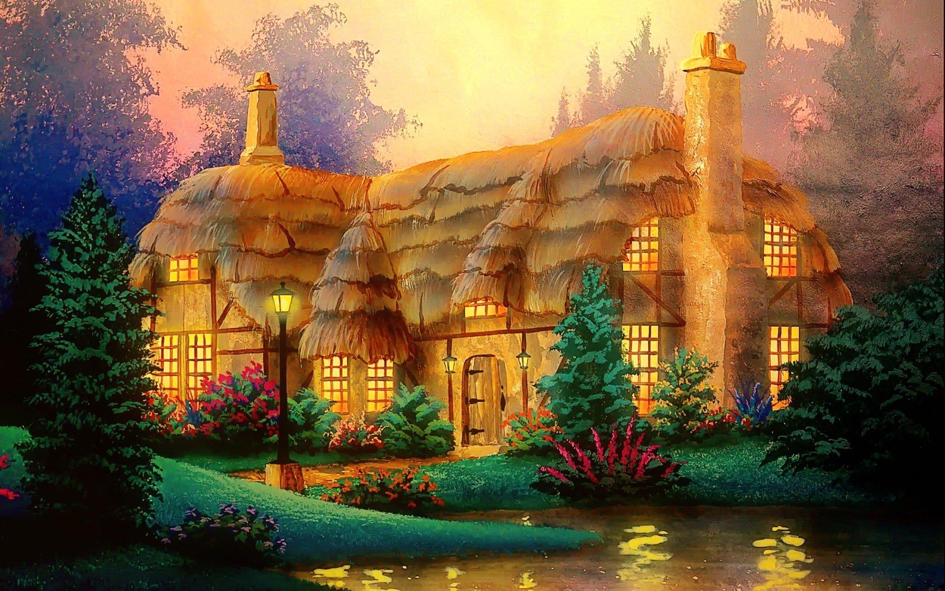 Artistic - House  Artistic Cottage Magical Landscape Colorful Wallpaper