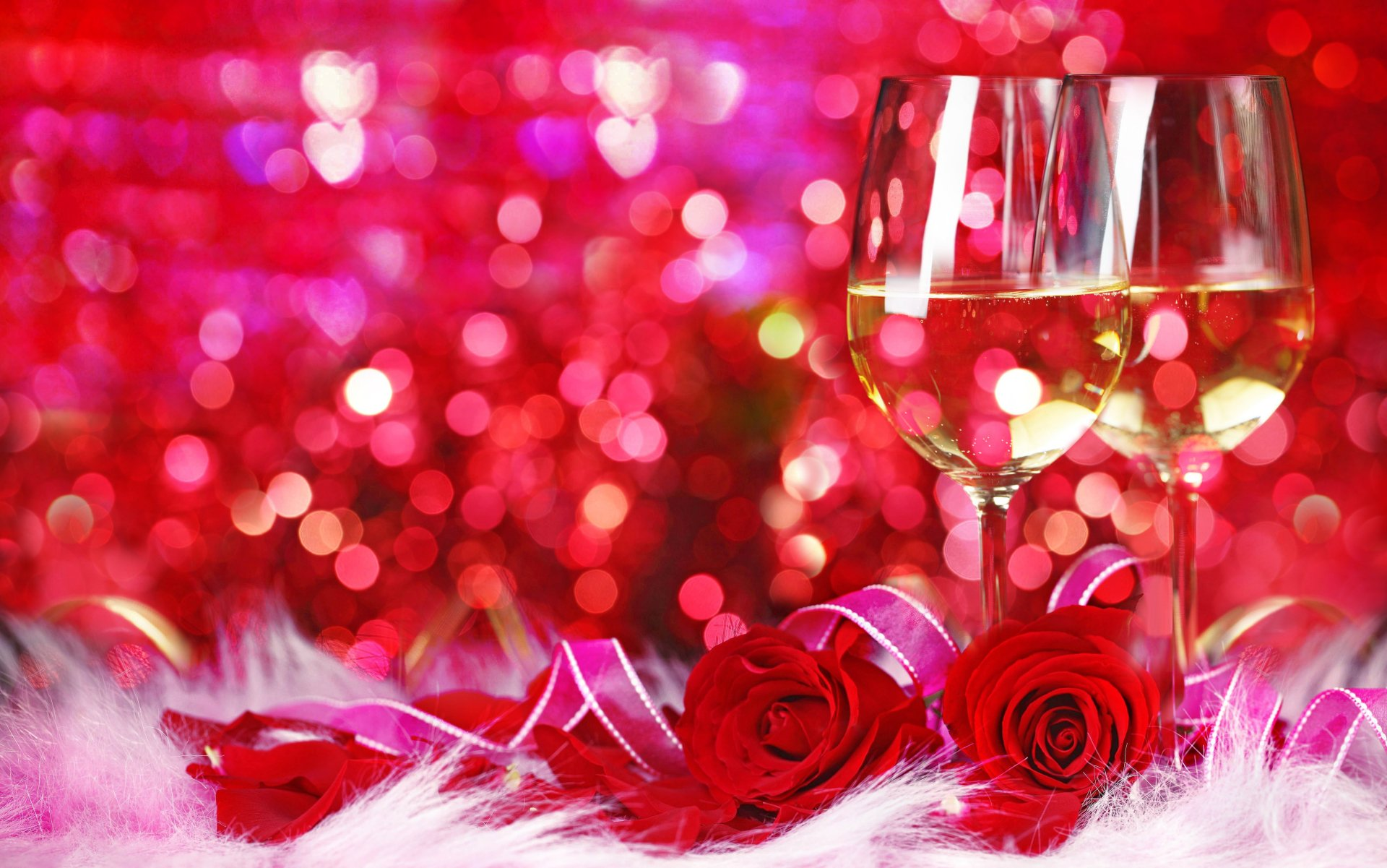 Holiday - Valentine's Day  Pink Bouquet Rose Glass Bokeh Wallpaper