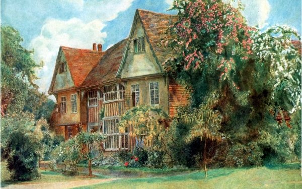 Artistic Painting Cottage Flower Tree HD Wallpaper | Background Image
