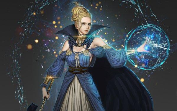 Fantaisie Femmes Magicienne Bleu Magique Epée Fond d'écran HD | Image