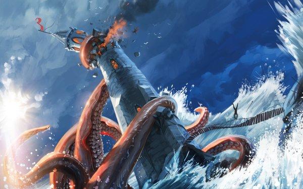 Fantasy Sea Monster Lighthouse Kraken HD Wallpaper | Background Image