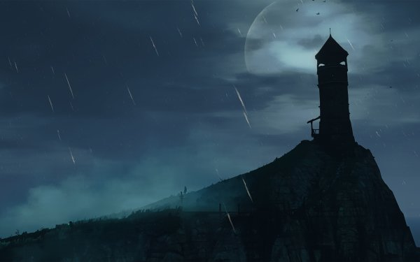 Video Game The Witcher 3: Wild Hunt The Witcher Night Moon Rain Lighthouse HD Wallpaper | Background Image