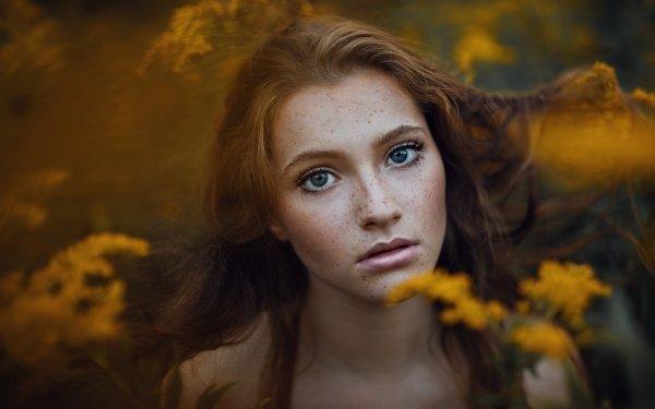 Women Face Woman Model Redhead Blue Eyes Freckles HD Wallpaper | Background Image