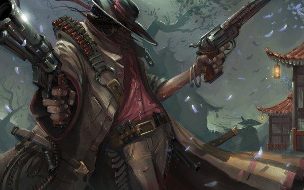 Fantaisie Guerrier(ère) Man Hat Handgun Cowboy Fond d'écran HD | Arrière-Plan