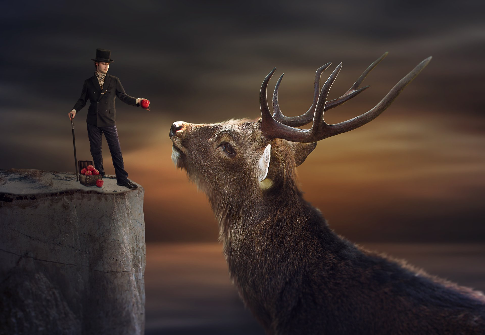 Man With Top Hat And Buck 5k Retina Ultra HD Wallpaper