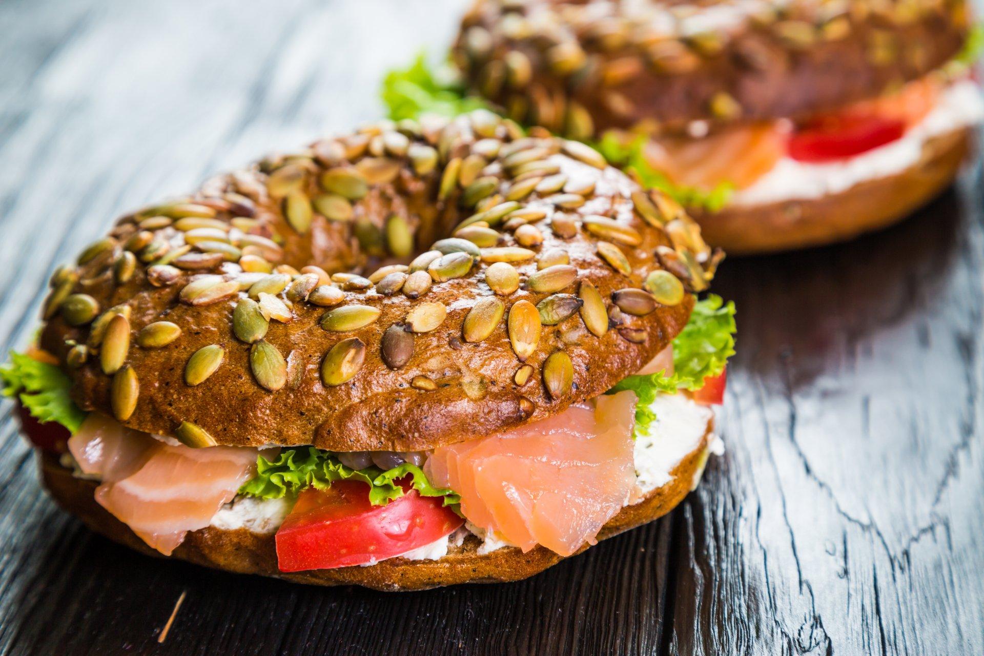 Alimento - Sándwich  Bagel Alimento Lunch Pan Fondo de Pantalla