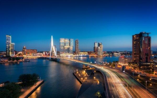 Man Made Rotterdam Cities Netherlands Night Highway Building Skyscraper Bridge City HD Wallpaper | Background Image