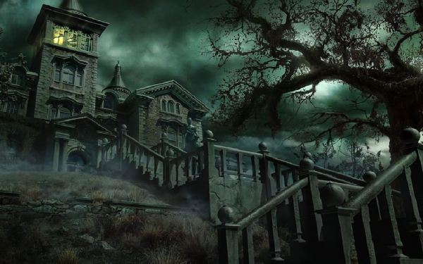 Dark House Artistic Creepy Scary Night Haunted HD Wallpaper | Background Image