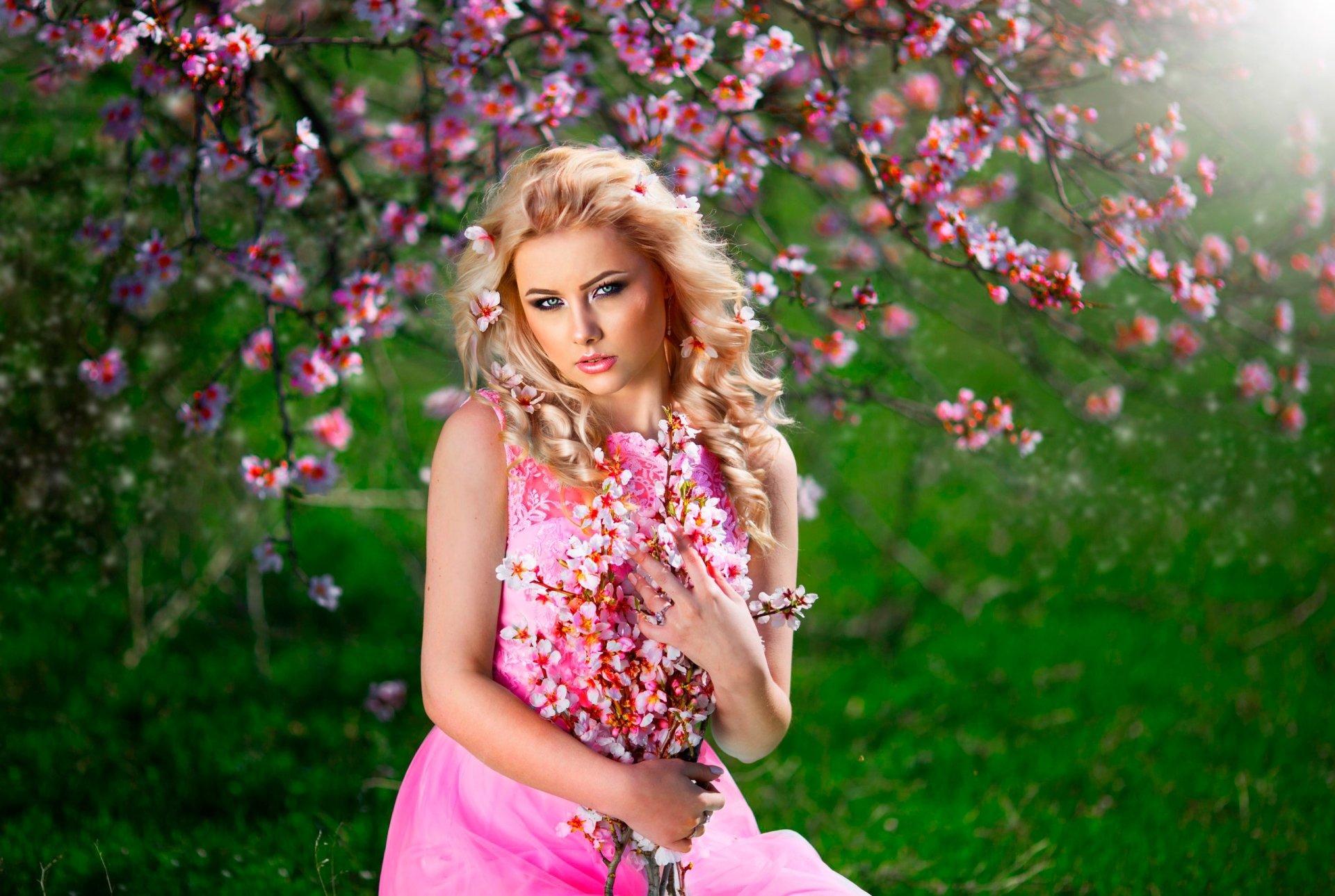 Women - Model  Woman Girl Blonde Green Eyes Pink Dress Blossom Depth Of Field Flower Pink Flower Wallpaper