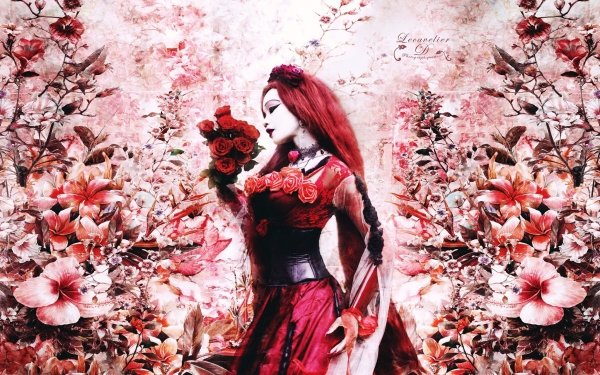 Women Artistic Fantasy Woman Gothic Asian Flower Garden Rose Red Pink Red Dress Red Hair Long Hair HD Wallpaper | Background Image