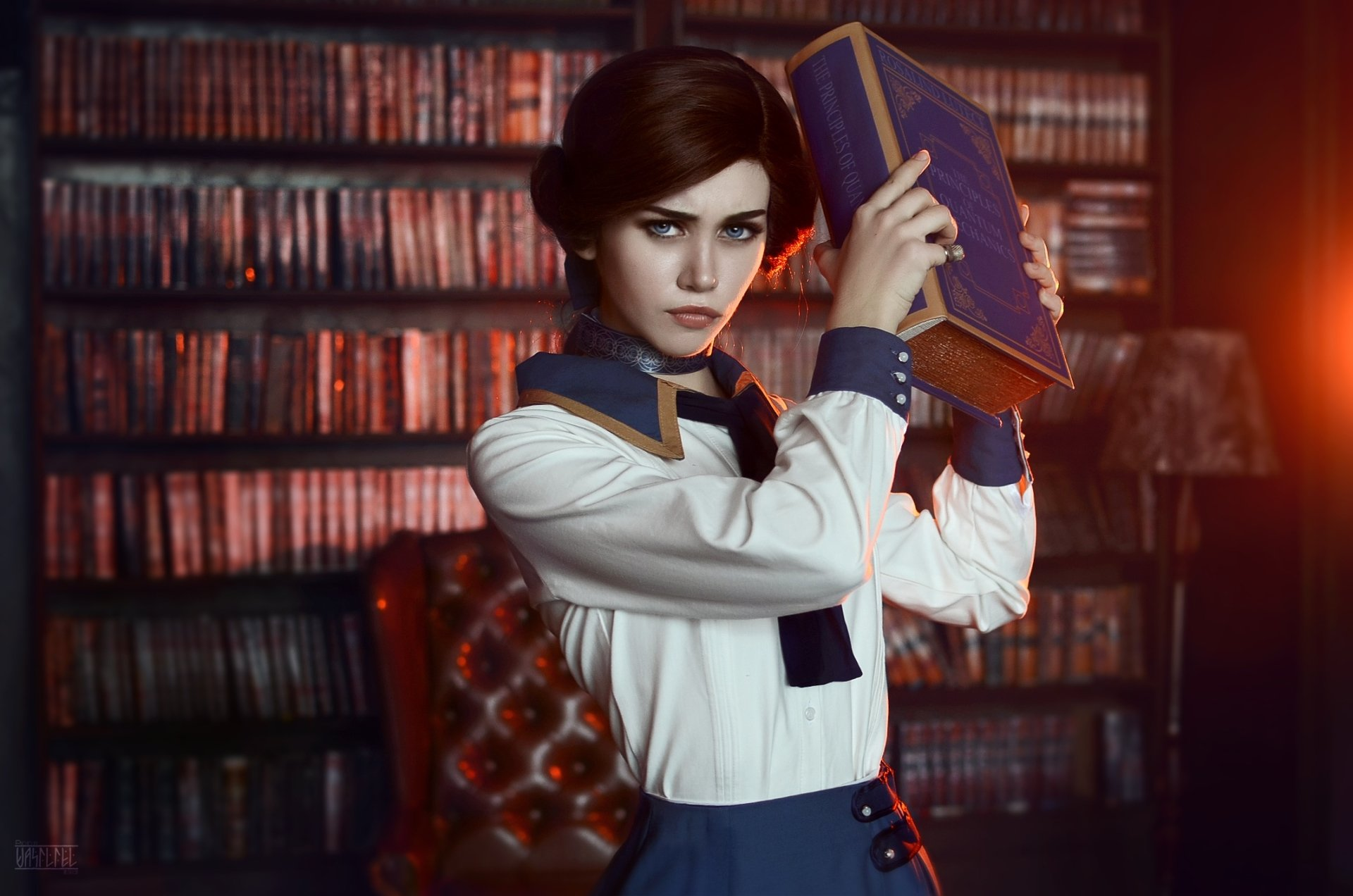 Women - Cosplay  Blue Eyes Bioshock Infinite Elizabeth (Bioshock Infinite) Brunette Book Wallpaper