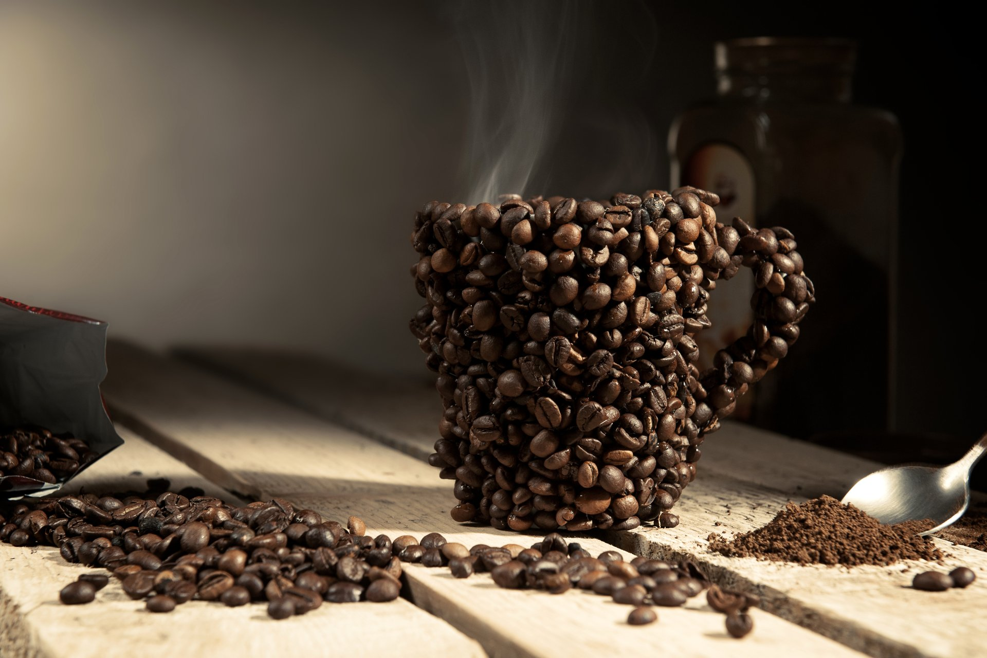 Food - Coffee  Coffee Beans Cup Still Life Wallpaper