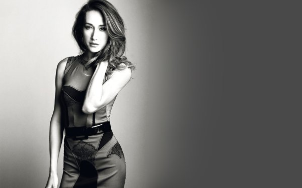 Celebrity Maggie Q Actresses United States Actress Black & White Dress HD Wallpaper | Background Image
