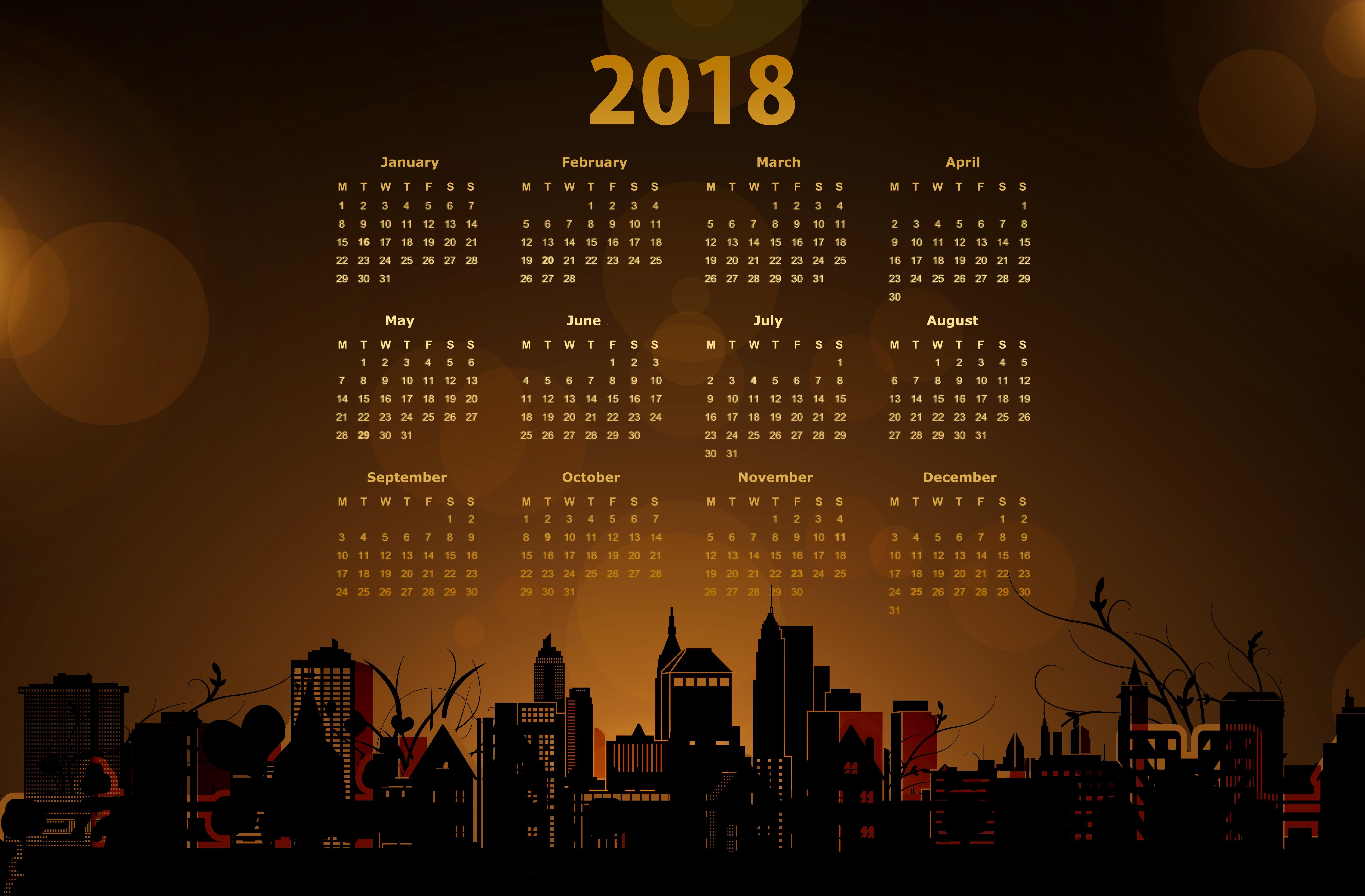2018 Calendar With A Cityscape 5k Retina Ultra Fondo De