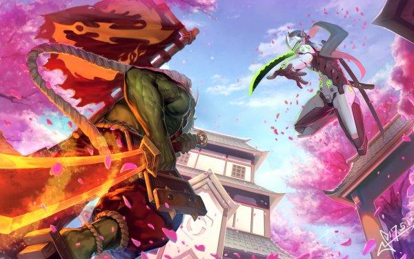 Video Game Overwatch Genji Samurai Sword Sakura Battle Heroes of the Storm HD Wallpaper | Background Image