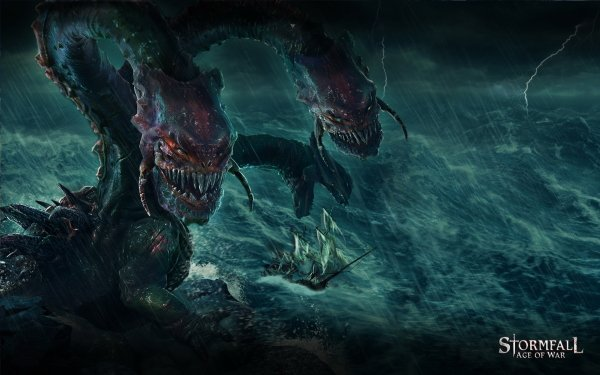 Video Game Stormfall: Age Of War Sea Monster Storm Ocean Ship HD Wallpaper   Background Image