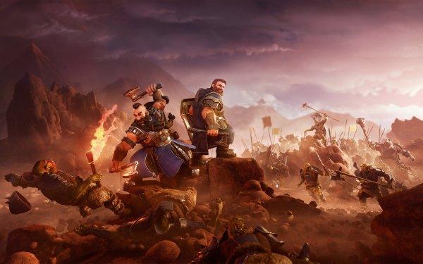 Fantasy Dwarf Warrior Orc Battle HD Wallpaper | Background Image