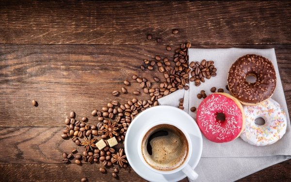 Alimento Café Coffee Beans Bodegón Cup Donut Dulces Fondo de pantalla HD   Fondo de Escritorio