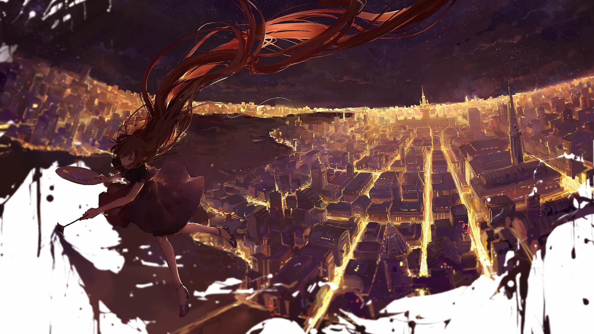 Anime - Original  Stars Painting Orange Hair Light Cityscape Dress Night Long Hair Girl Wallpaper