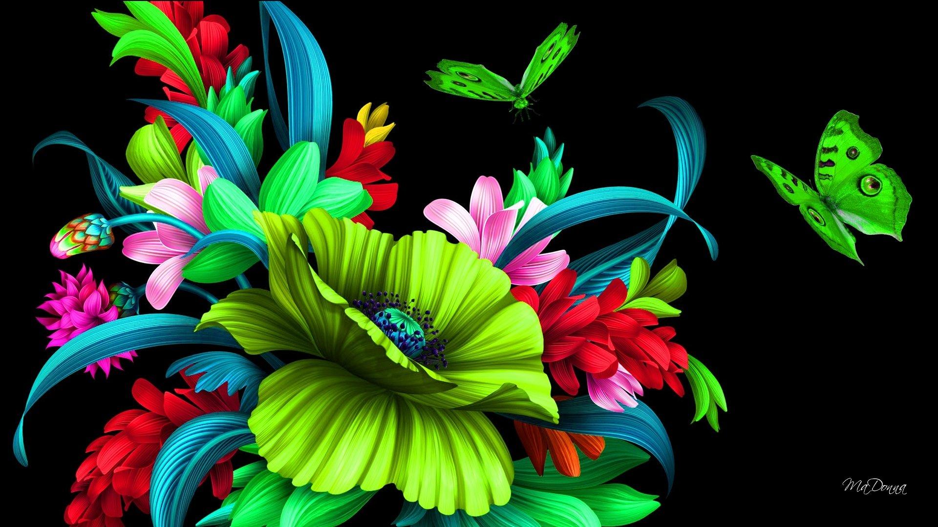 Bright Flowers and Butterflies HD Wallpaper   Background ...3d Neon Butterflies