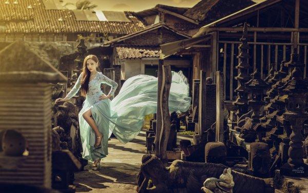 Kvinnor Asian Flicka Style Dress HD Wallpaper   Background Image
