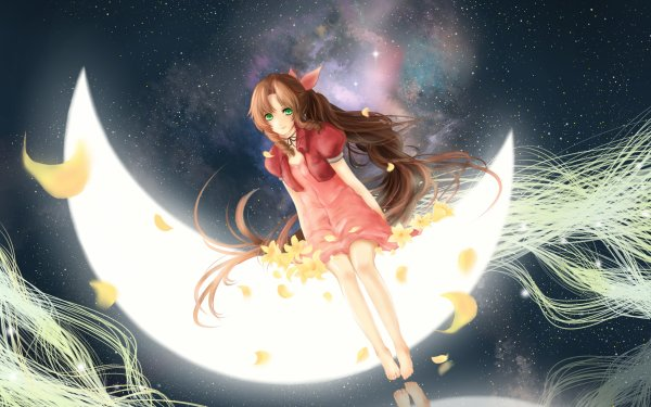 Video Game Final Fantasy VII Final Fantasy Aerith Gainsborough Moon HD Wallpaper   Background Image
