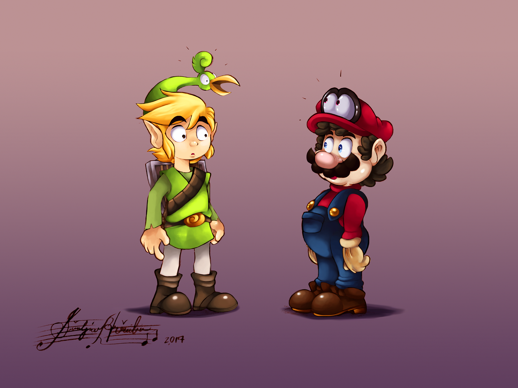 Video Game - Crossover  Link Mario The Legend Of Zelda: The Minish Cap Super Mario Odyssey Ezlo (The Legend Of Zelda) Wallpaper