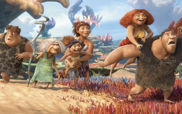 Movie The Croods: A New Age The Croods 2 Eep Guy Thunk Grug Sandy Ugga Gran HD Wallpaper | Background Image